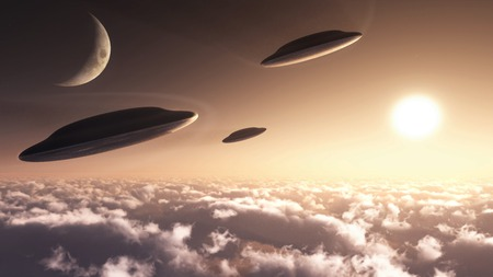 UFO formation - space, formation, sci-fi, flying, technology, concept, ufo, ship, alien, craft, speedpaint