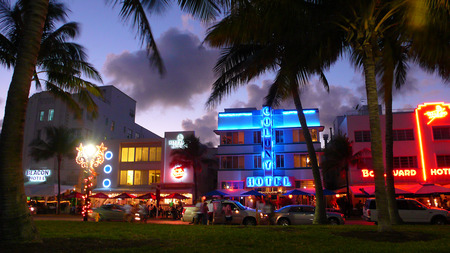 South Beach Ocean Drive - colourful, ocean, city, neon, lights, beach