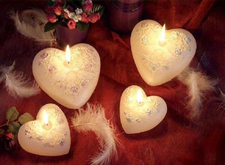 Candles Hearts - red, candle, lovely, romantic, romance, rose, beautiful, roses, photography, feather, heart, flowers, feathers