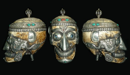 Tibetan Tantric Kapala - tantric, semi-precious stones, human skull, abstract, inlay, silver, photography, decorated, kapala