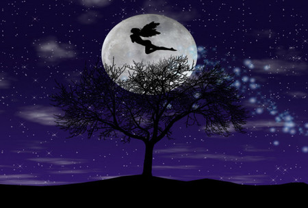 Moonlight Magic - wings, magic, abstract, silhouette, artwork, faerie, tree, fantasy, moon, flying