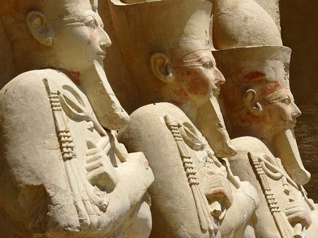 Statues at the 3rd Terrace of the Temple of Hatshepsut - thebes, temple of hatshepsut, statues at the 3rd terrace, luxor, deir el bahri, egypt