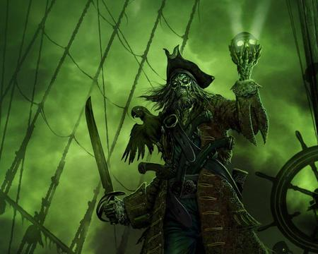 Pirate With Skull !!! - pirate lord, pirate, skull, background, green, abstract, fantasy