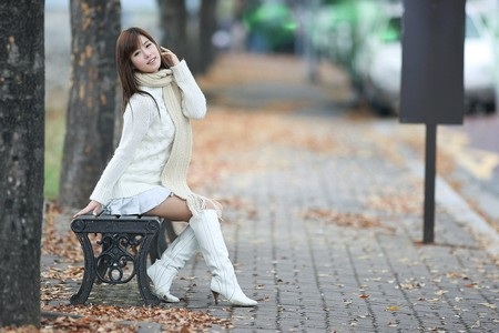 I love the Fall - fall, pretty, dark hair, boots, beautiful, woman, sweet, female model, nice, song jina, sweater, hot, korean, babe, female, model, sexy, asian model, cute, girl, asian