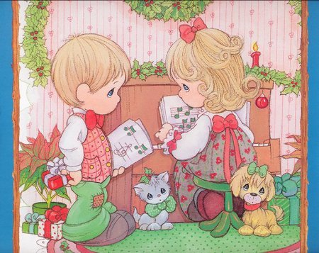 11 precious moments - children, christmas, cat, precious moments, dog, sweet, cute, holiday, puppy, kitten, gift