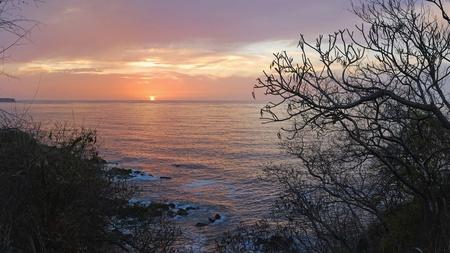 Sunset HD - sunset, bay, hd, ocean, sky, pink, trees, orange, sea, rocks