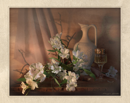 Refinement - table, glass, flowers, vase, wineglass, silk