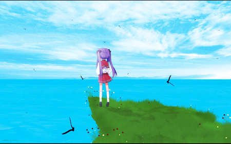 Kagami Hiiragi - grass, birds, sky, water, hiiragi, kagami hiiragi, clouds, cliff, lucky star, kagami
