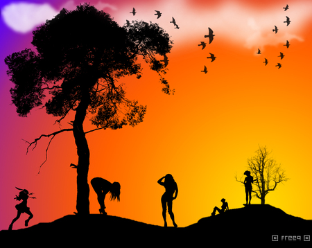 Sunset Silouette - sunset, fantasy, colourful, vector, silhouette