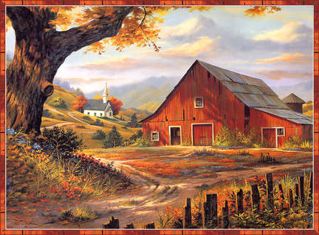 The Little Red Barn - hills, red, oaks, spring, country, church, trees, good life fields, barn, farm, roads, quite