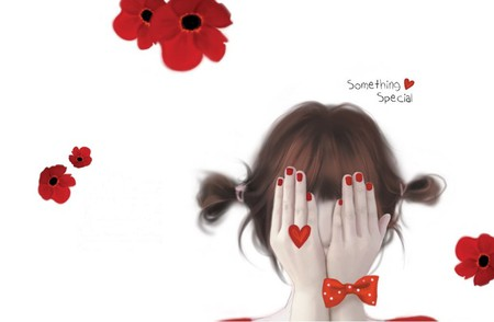 Something Special - red flowers, white, romantic, abstract, red, flower, sweet, poppy, woman, hair, love, flowers, hands, hand, heart, beauty, beautiful, lovely, girl, drawing, pretty