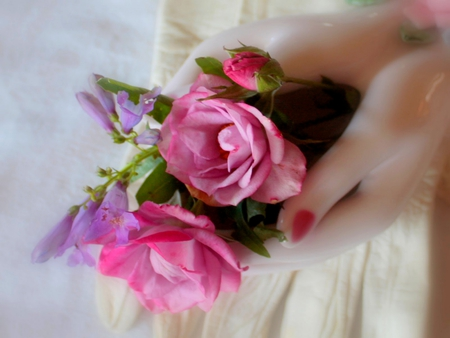 HANDFUL OF SWEETNESS - hands, flowers, rose bud, mannequin, violet, roses, pink