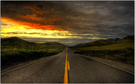 ROAD TO PARADISE - sunset, road, clouds, golden, plants, straight