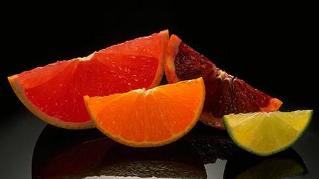 citrus - beautiful, reflection, dessert, colors, 3d, fruits