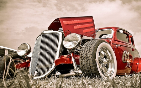 Old Number 61 - cars, hot rod, automobile, car, abstract, classic, old, vintage