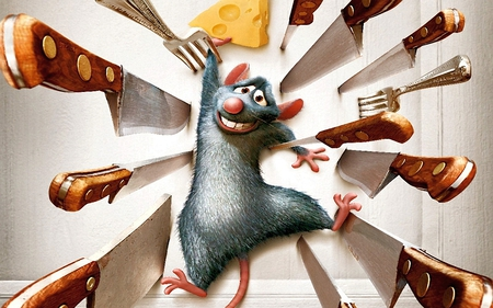 Hard to Stay Alive - cg, danger, rats, mice, knives, back agaisnt the wall, abstract, cartoon, 3d, beware, animation, mouse, rat
