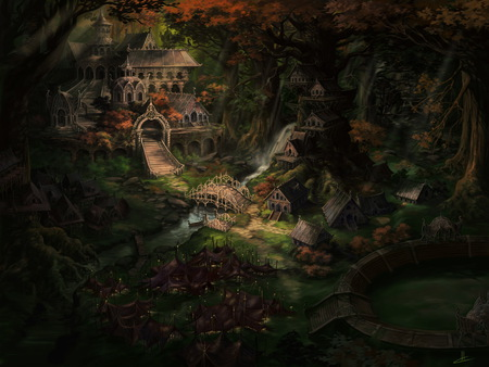elf village fantasy \u0026 abstract background wallpapers on desktopelf village forest, arena, houses, abstract, fantasy, bridge, wallpaper
