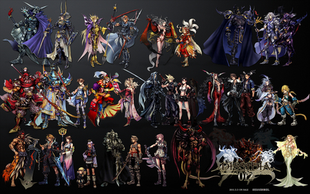 Dissidia Characters - ff7, vaan, bartz klauser, ff2, ff11, golbez, garland, group, exdeath, aerith gainsborough, final fantasy, tifa lockhart, cloud of darkness, dissidia duodecim, ff12, emperor mateus, final fantasy dissidia, ultimecia, ff6, ff3, weapons, firion, lightning, gilgamesh, chaos, games, video games, kuja, yuna, lightning farron, kain highwind, cloud, swords, cecil, zidane tribal, ff5, cecil harvey, terra, dissidia, black background, tifa, ff10, terra branford, laguna loire, warrior of light, luneth, bartz, tidus, emperor, anime, onion knight, cosmos, ff9, squall, aerith, shantotto, cloud strife, characters, tina branford, ff4, ff13, laguna, ff8, kefka, kain, sephiroth, ff1, zidane, jecht, tifa lockheart, golbez harvey, armor, gabranth, armour