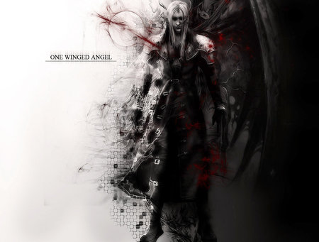 One Winged Angel - ff7, ffvii, games, final fantasy 7, white hair, video games, white background, shoulder guard, final fantasy series, anime, long hair, sephiroth, wings, male, final fantasy dissidia, advent children, final fantasy vii, trench coat, cool, lone, black background, dark, dissidia, armour