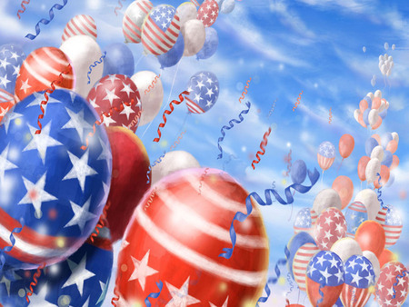 HAPPY FOURTH OF JULY - july, balloons, white, blue, red