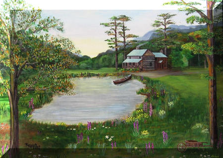 A Log Cabin Retreat - wilderness, flowers, nature, canoe, cabin, trees, bay, harmony