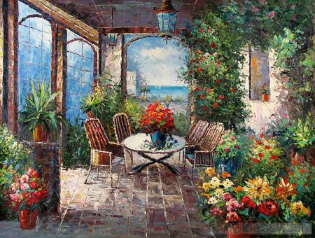 A Hot Summer Day - table, view, sunny, sea, memories, planters, porch, bright, summer, blossoms, chairs, hot, flowers