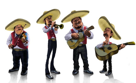 los mariachis - mariachis, fantasy, music, wallpaper, mexico