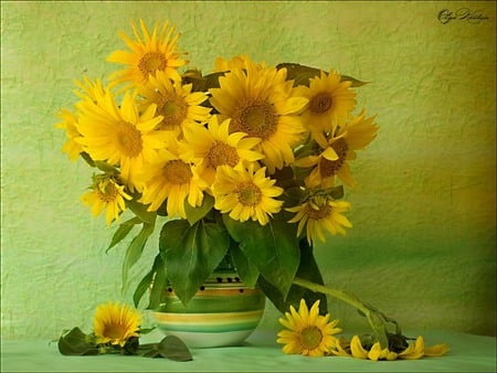 Sunflowers - lovely, vase, yellow, delicate, flowers, sunflowers, nice, pretty, still life, petals, beautiful