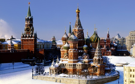 St.Basils Cathedral - architecture, cathedral, moscow, red square, russia, snow, winter