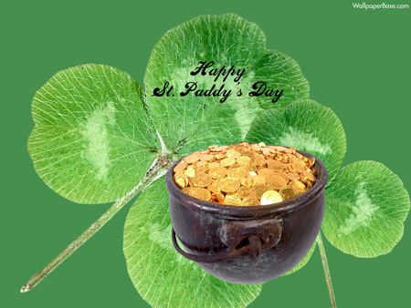 Happy St. Patrick's Day Pot of Gold - irish, holidays, st patricks day, holiday