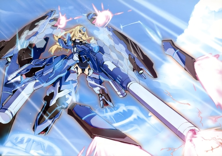 Celcilia Alcott - sniper rifle, pretty, celcilia, infinite stratos, white clouds, beautiful, clouds, alcott, thighhighs, nice, anime, hot, beauty, anime girl, blue, wings, blonde, sky, sexy, celcilia alcott, weapons, blue tears, is, cute, cool, girl, okiura, flying, awesome, sniper, blue sky, laser