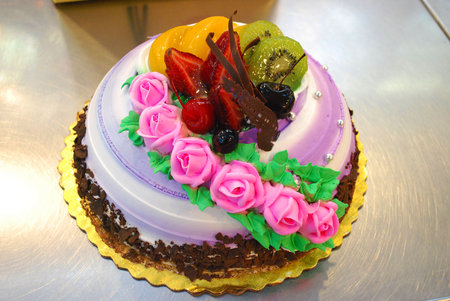 flower cake - color, pink, art, fantastic, cake, flower