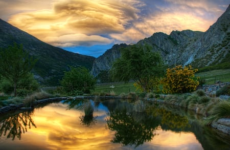 Sunset-HDR - landskape, hd, grass, photography, lake, other, hdr, pond, landscape, pleasant, quiet, rocks, sunset, sky, water, nice, mountains, nature, trees, cool, reflection, beauty, beautiful, clouds, green