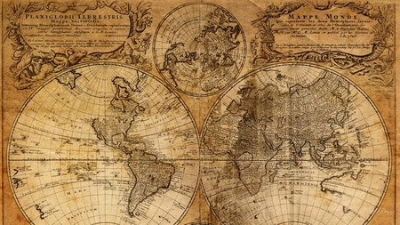 Old Map 1 - old, antique, vintage, world, firefox persona, map