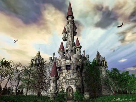 Castle Myre (3D) - medieval, castle, light, 3d and cg, beautiful day, dark art, dark, day, 3d, beautiful