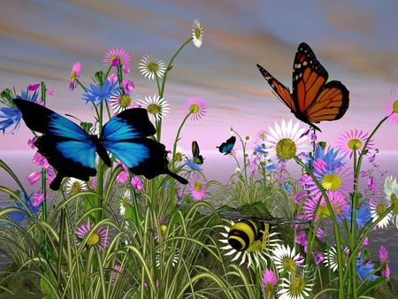 Beautiful Butterflies - two, flowers, butterfly, color, nature, 3d, animals, spring, butterflies