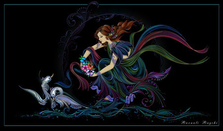 Leda - fantasy, swan, swans, zeus, leda, abstract, wallpaper, mythology