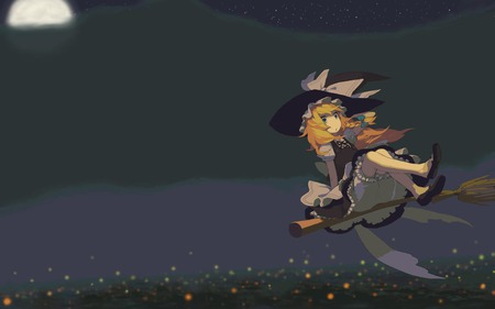 Take me by the moon~ - witch, moon, kirisame marisa, touhou, broom, night