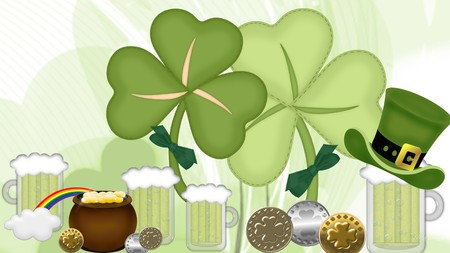 Luck of the Irsh - irish, st patricks day, green beer, rainbow, top hat, shamrocks, firefox persona, pot of gold, coins