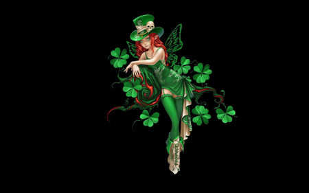 Irish Fairy - irish, fairy, clover, saint patricks day, shamrock, green
