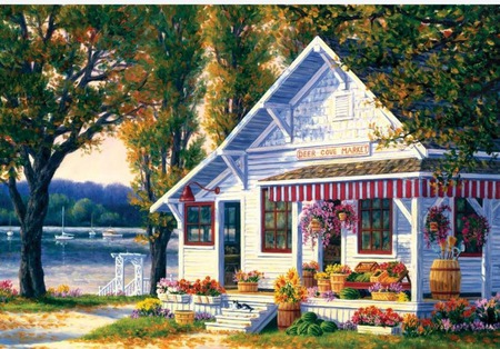 lake side  market - boat, porch, grass, cove, store, trees, flowerpots, lake