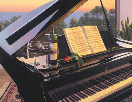 evening song - glass, window, rose, wine, music, veiw, piano