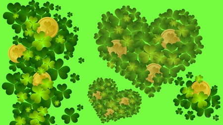 Shamrocks and Gold - irish, st patricks day, saint patrick, shamrocks, gold coins, green, firefox persona, luck
