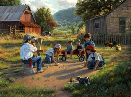 marbles - fence, art, children, turtle, barn, wagon, chickens, childhood, cows, puppy