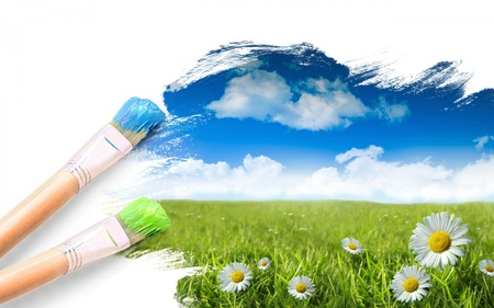 Paint A Picture Of A Perfect Place - brush, blue, flowers, clouds, daisy, grass, paint, sky, green, field, nature