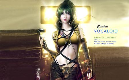 Sonika - green hair, engloid, anime, vocaloid, sonika