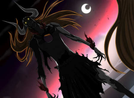 Vasto Lorde Ichigo - vasto lorde ichigo, yellow eyes, full hollow ichigo, anime, dark, ichigo, vasto lorde, moon, crescent moon, sky, long hair, hollow ichigo, orange hair, ichigo kurosaki, claws, bleach, kurosaki ichigo, horns