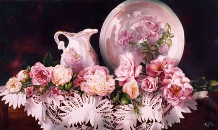 full of pinks - table, cloth, flowers, plate, water pitcher