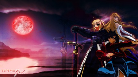 Lines of death ~ Type-moon Girls - saber, red, shiki, tsukihime, fate stay night, anime, vampire, girls, blue, kara no kyoukai, typemoon, arcueid, lines of death, lua, brunestud, shingetsutan, fight, end