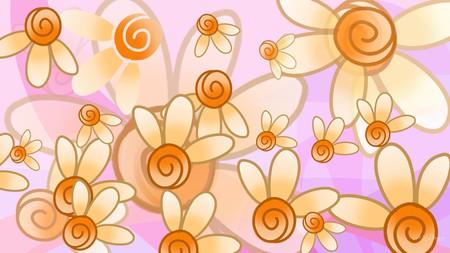 Floral Fantasy - flowers, transparent, fantasy, orange, floral, flora, pink, layers